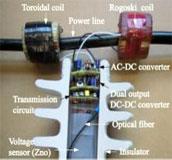 試作した送電線の電流電圧計測装置